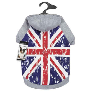 Distressed British Flag Dog Hoodie