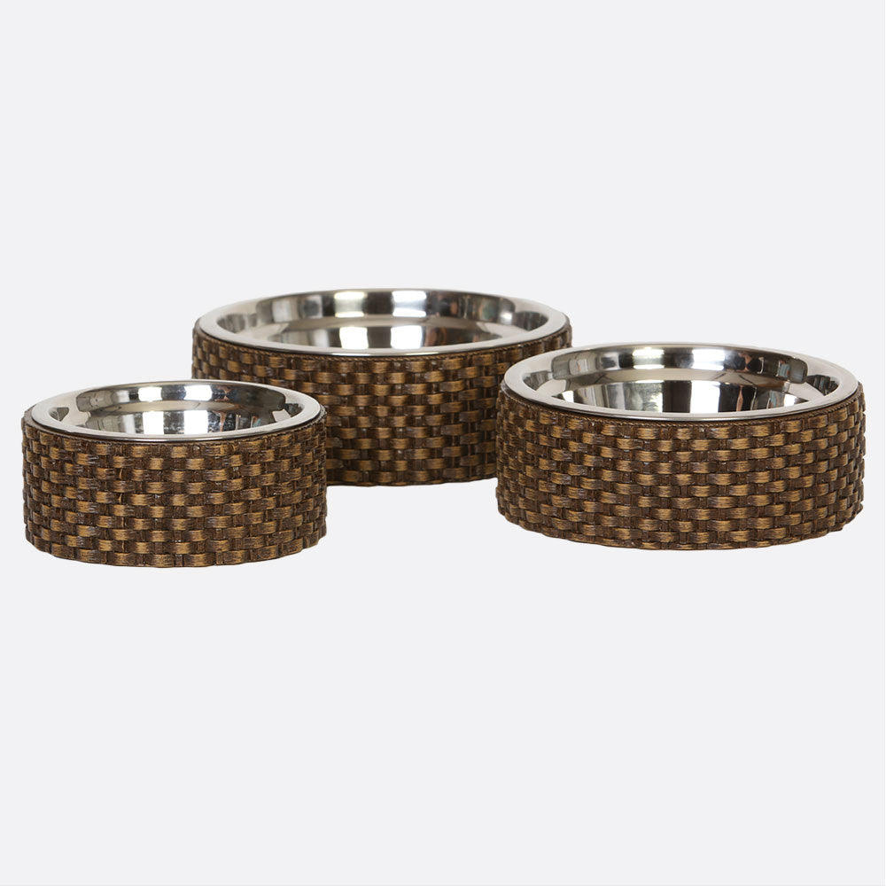 The Basket Weave Dog Bowl