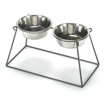 Double Bowl Pyramid Dog Feeder