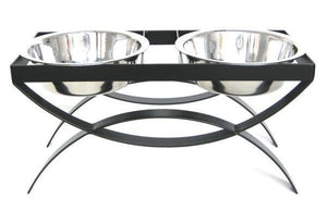 Retro Double Dog Bowl Feeder