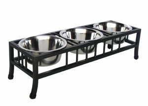 Baron Triple Bowl Dog Feeder - Oh My Dog Supply
