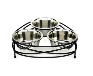 Mesh Triple Bowl Dog Feeder