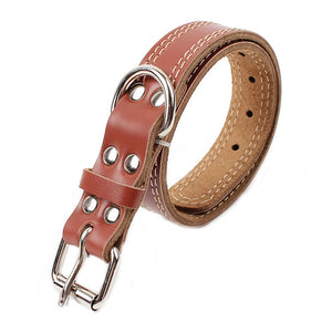 Strong Genuine Cow Leather Pet Dog Collar Solid Color Double Lines Large Dog Collar 2.5/3.0/3.5 Width