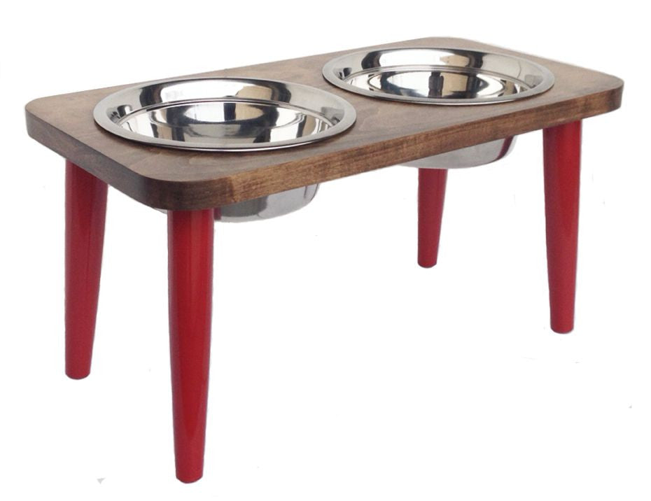 Modern Maple Double Dog Feeder