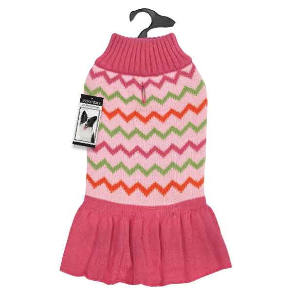Pink Chevron Sweater Dog Dress