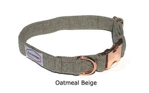 Bailey Dog Collar - Gray plaid with rose gold buckle - Oh My Dog Supply