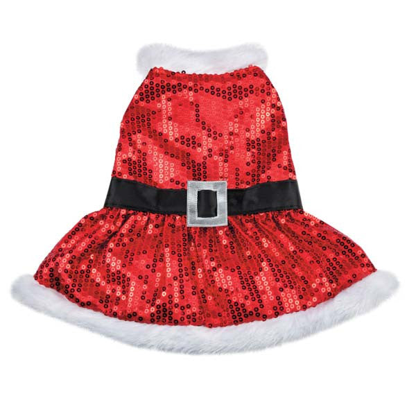 Mrs. Claus Sequin Doggie Dress