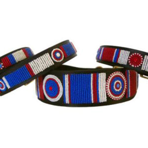 Red; White; & Blue Fully Beaded Tribal Dog Collar