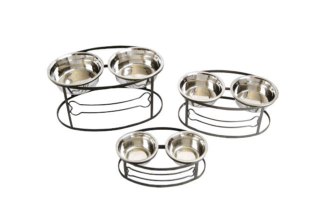 Raised Double Bowl Dog Bone Feeder