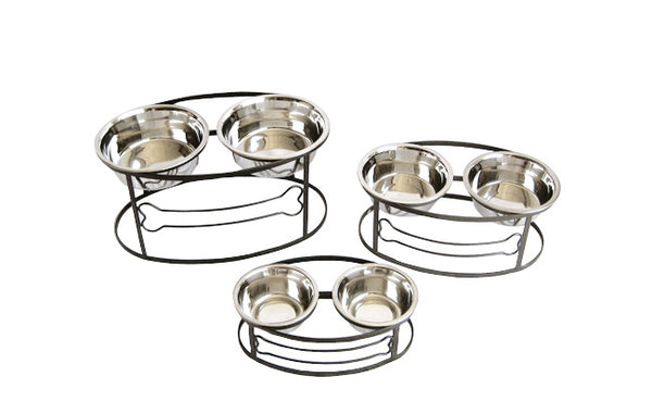 Clearance Raised Double Bowl Dog Bone Feeder