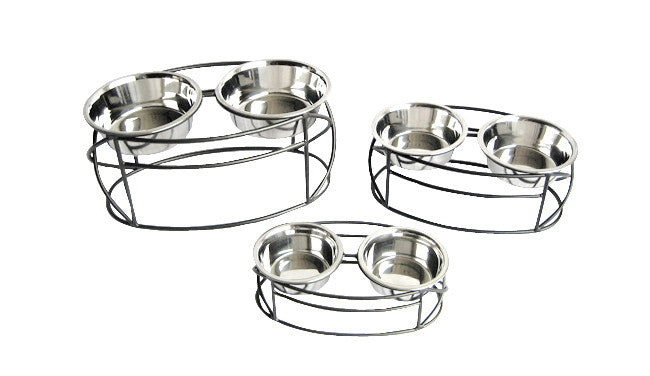 Double Dog Bowl Oval Cross Feeder Oh My Dog Supply