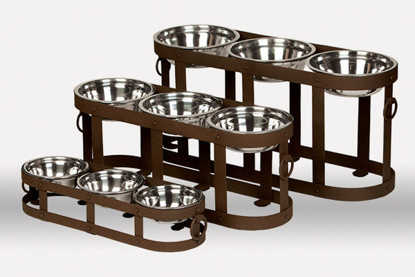 Rustic Metal Triple Dog Feeder