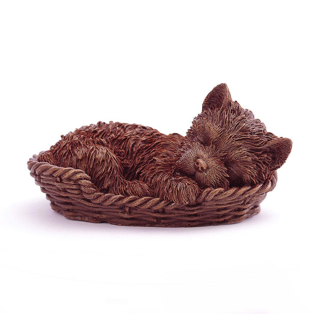 Sleeping York Puppy Chocolate Figure