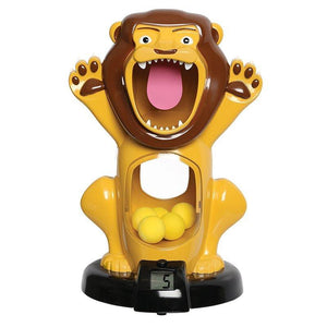 Discovery Kids Hungry Lion Feeding Game with Sound - Digital Counter, Clear Tummy Air Gun with Foam Balls (Blue & Yellow)