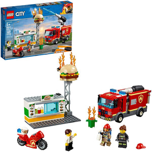 LEGO City Burger Bar Fire Rescue Building Blocks for Kids (327 Pcs)60214