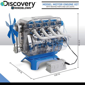 Discovery Mindblown Model Motor Engine Kit - Moving Parts and LED Lights (103 Pieces)
