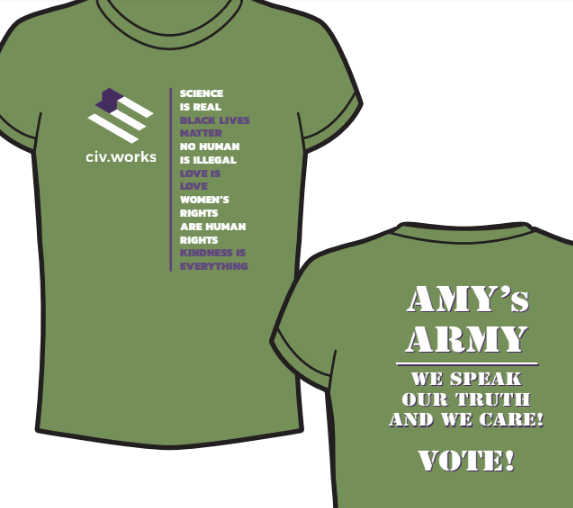 civ.works Amy's Army Special Edition tee (from the mind and heart of our Amy Ferris!)