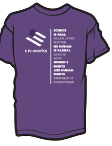 This union-made purple civ.works tee doesn't kill fascists, racists and misogynists. But it does hurt their feelings.
