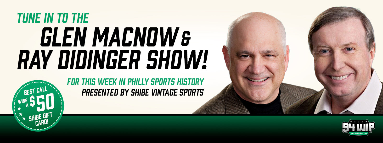 Listen to This Week in Philly Sports History Saturdays at 11am with Glen Macnow and Ray Didinger on 94 WIP radio