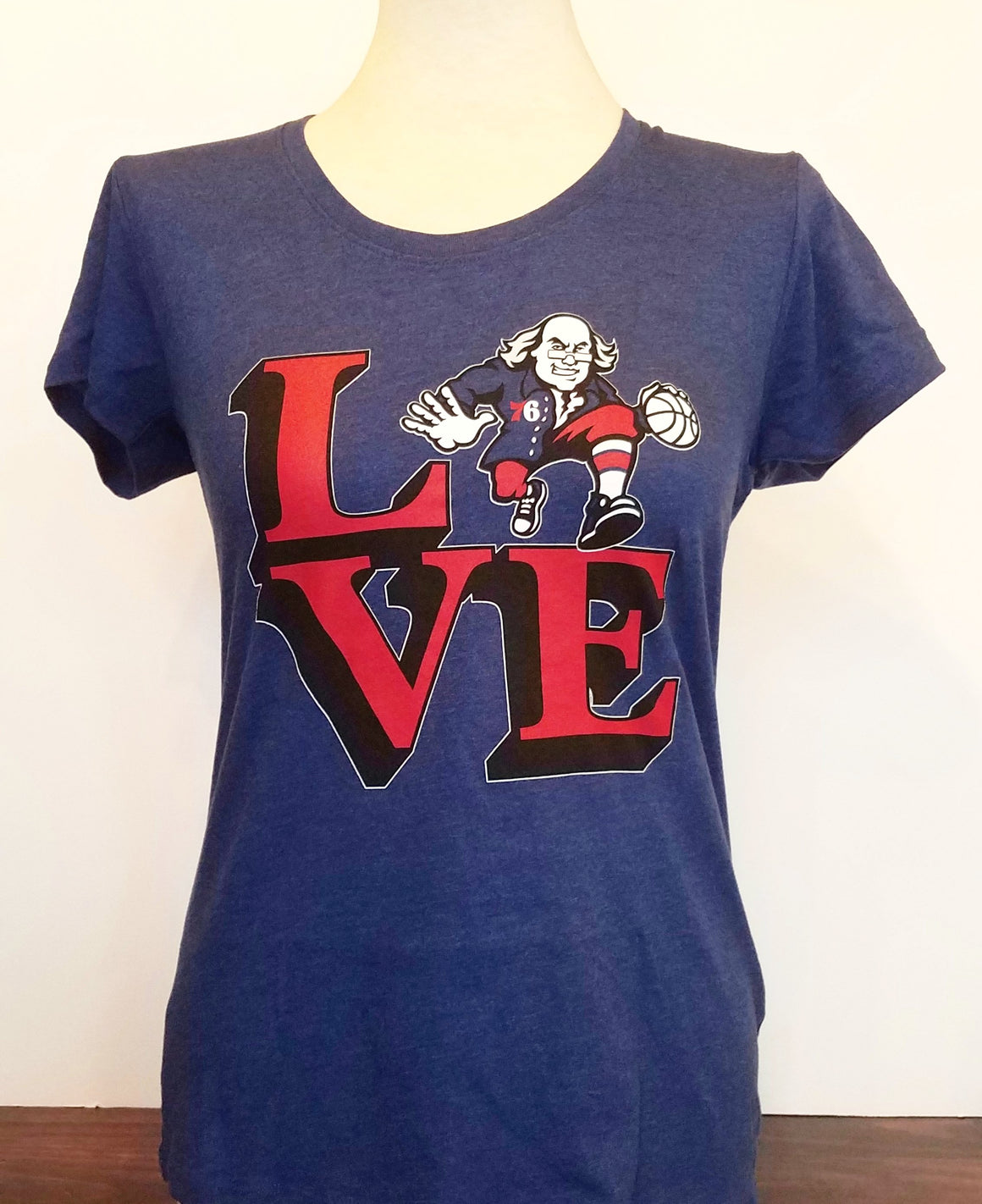 Philadelphia 76ers Royal Blue LOVE Ben Franklin Women's Tee