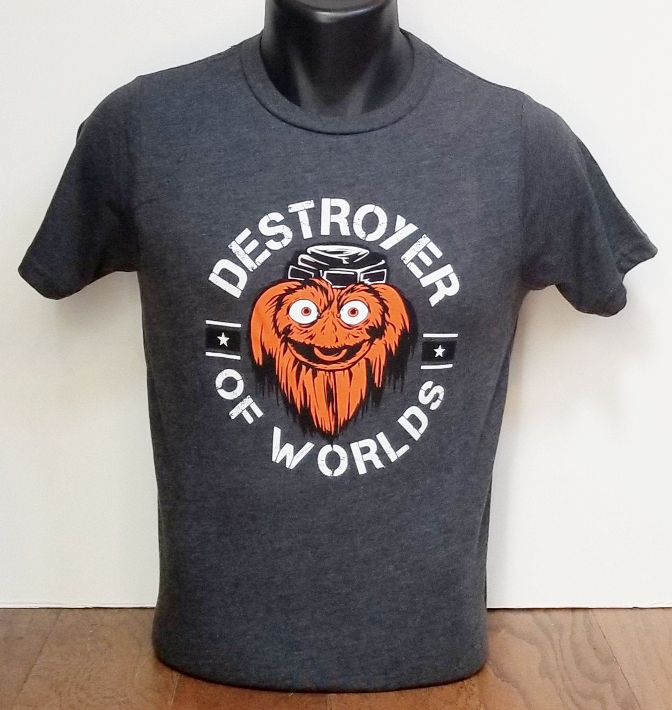 93e4a1f61 Gritty Destroyer Of Worlds YOUTH Charcoal tee shirt - Shibe Vintage Sports