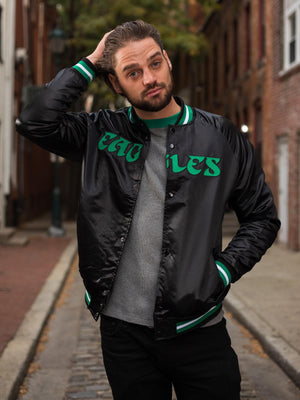 Philadelphia Eagles Lightweight Black Satin Jacket