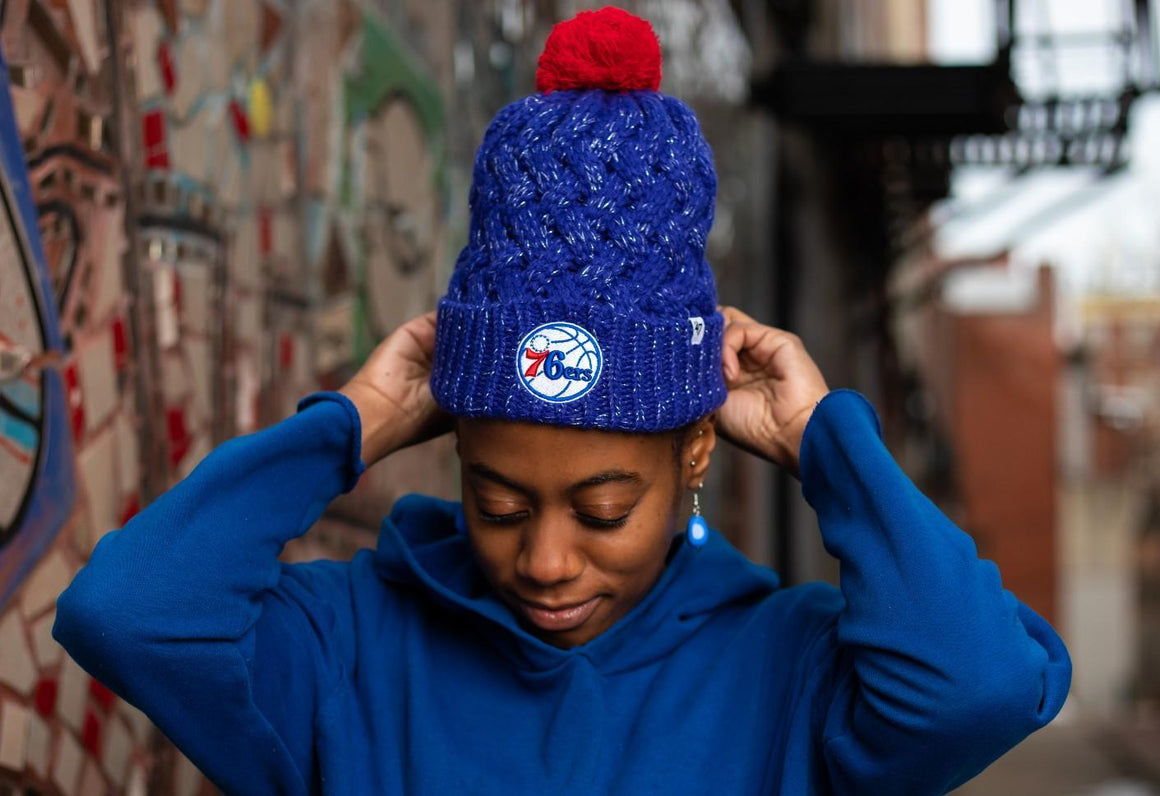 Philadelphia 76ers Women's Royal Fiona Knit Hat with Pom
