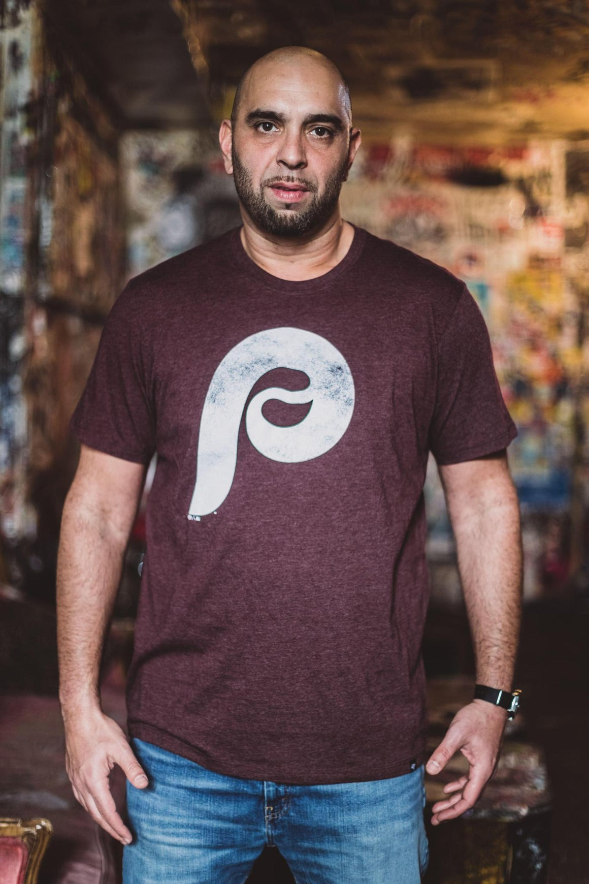 Philadelphia Phillies Distressed Logo Maroon Tee