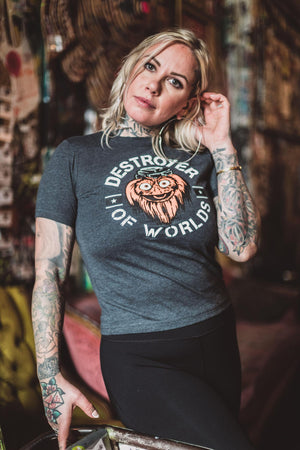 Gritty Destroyer Of Worlds Women's Charcoal tee shirt