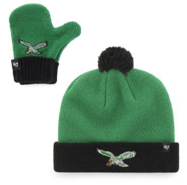 Philadelphia Eagles Kelly Green Bam Bam Infant/Toddler Knit and Mitten Set