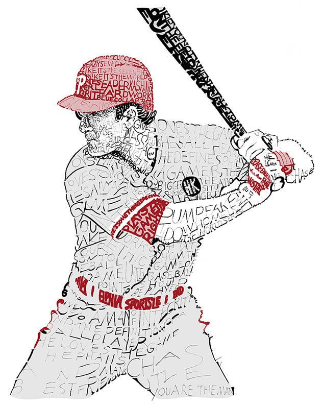 Chase Utley Print by Philly Word Art