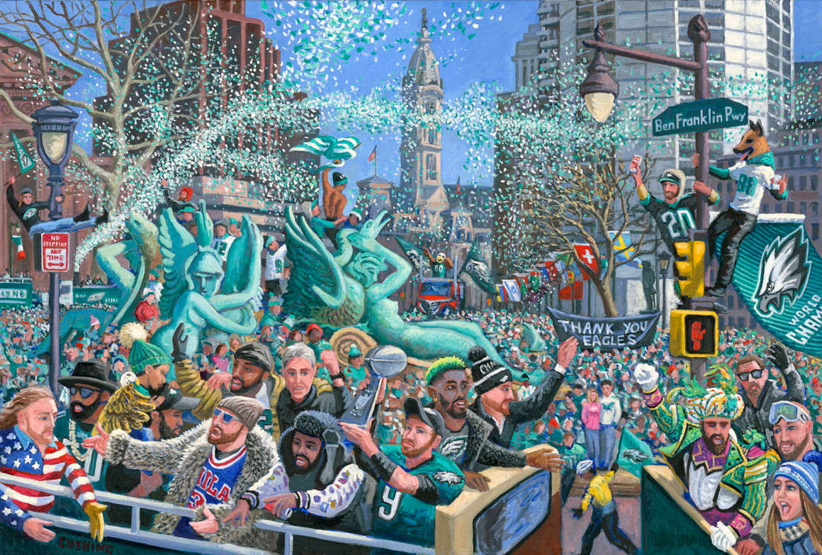 Eagles Championship Parade Note Card by Charles Cushing