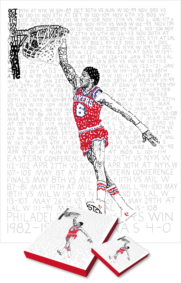 Philadelphia 76ers Dr. J Print by Philly Word Art