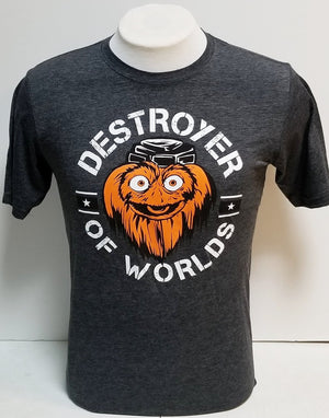 Gritty Destroyer Of Worlds Charcoal tee shirt
