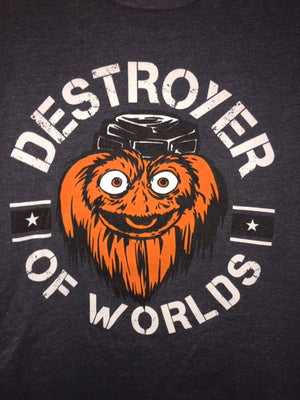 Gritty Destroyer Of Worlds YOUTH Charcoal tee shirt