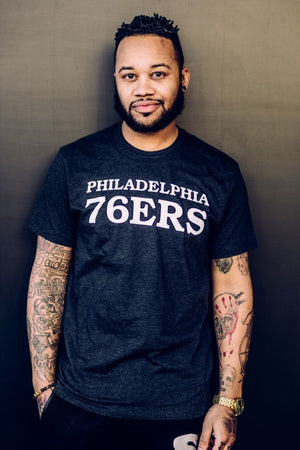 Philadelphia 76ers White Script Charcoal Club Tee