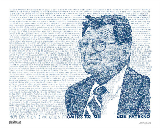 Penn State Joe Paterno 409 Print by Philly Word Art