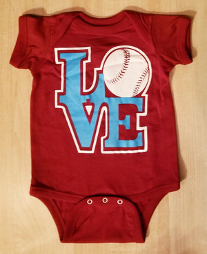 Philly LOVE Baseball Maroon Onesie