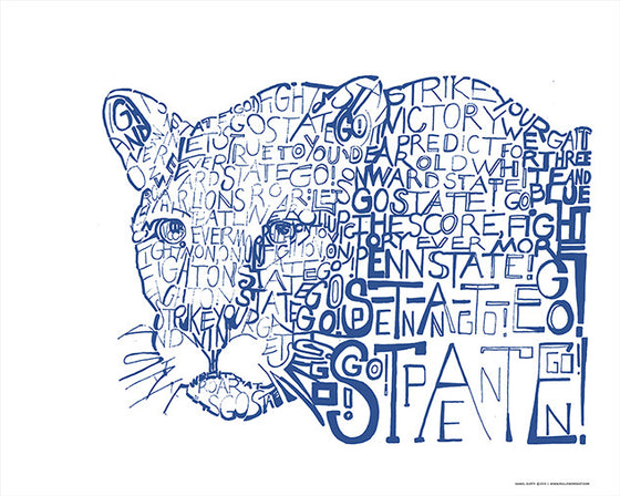 Penn State Nittany Lions Fight Song Print by Philly Word Art