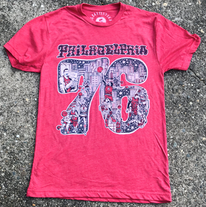 Philadelphia 76er Art T-Shirt - Red