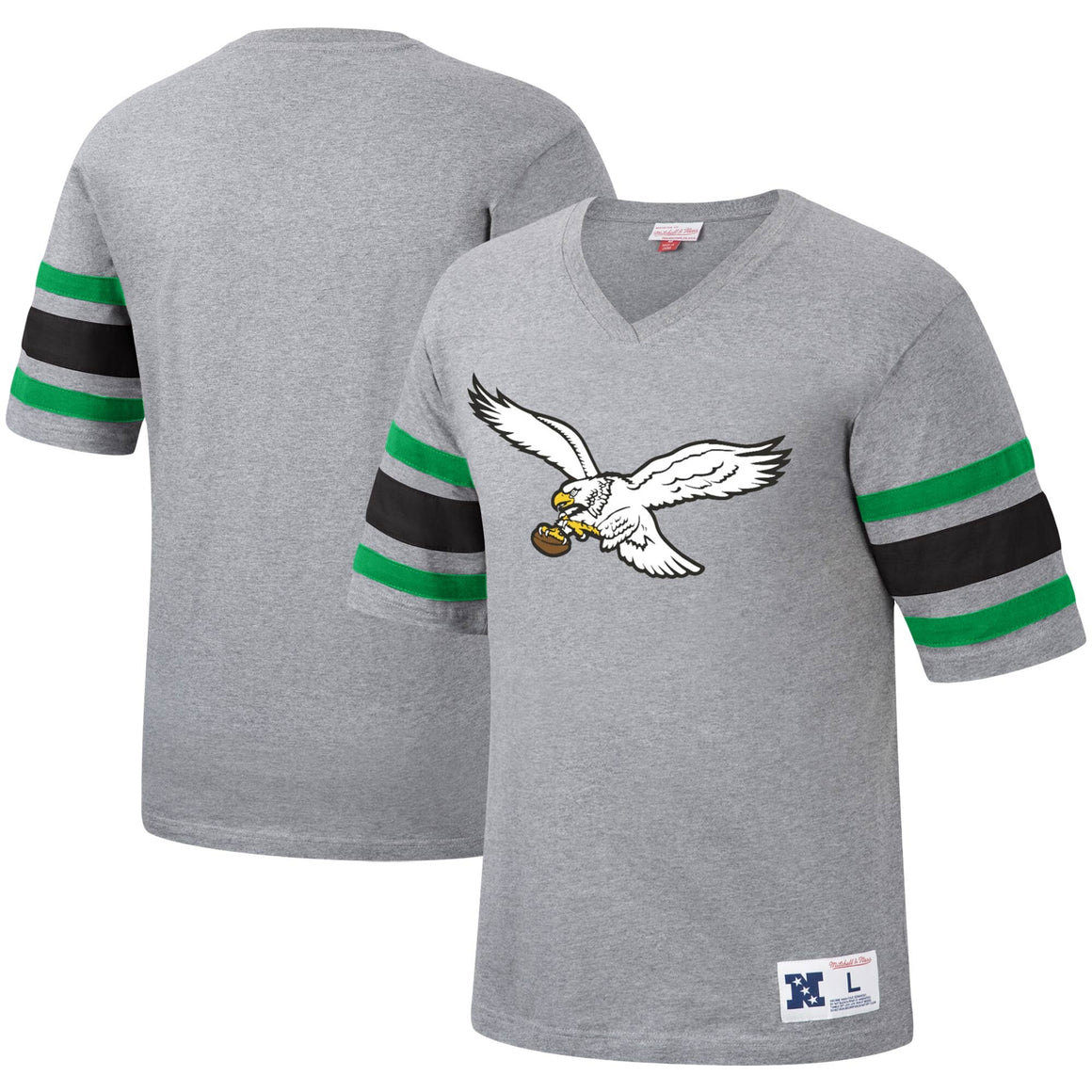 Philadelphia Eagles Mitchell & Ness Post Season Run V-Neck Youth T-Shirt - Heathered Gray