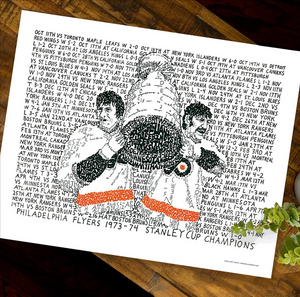 Flyers Road to the 1973-74 Stanley Cup Print by Philly Word Art