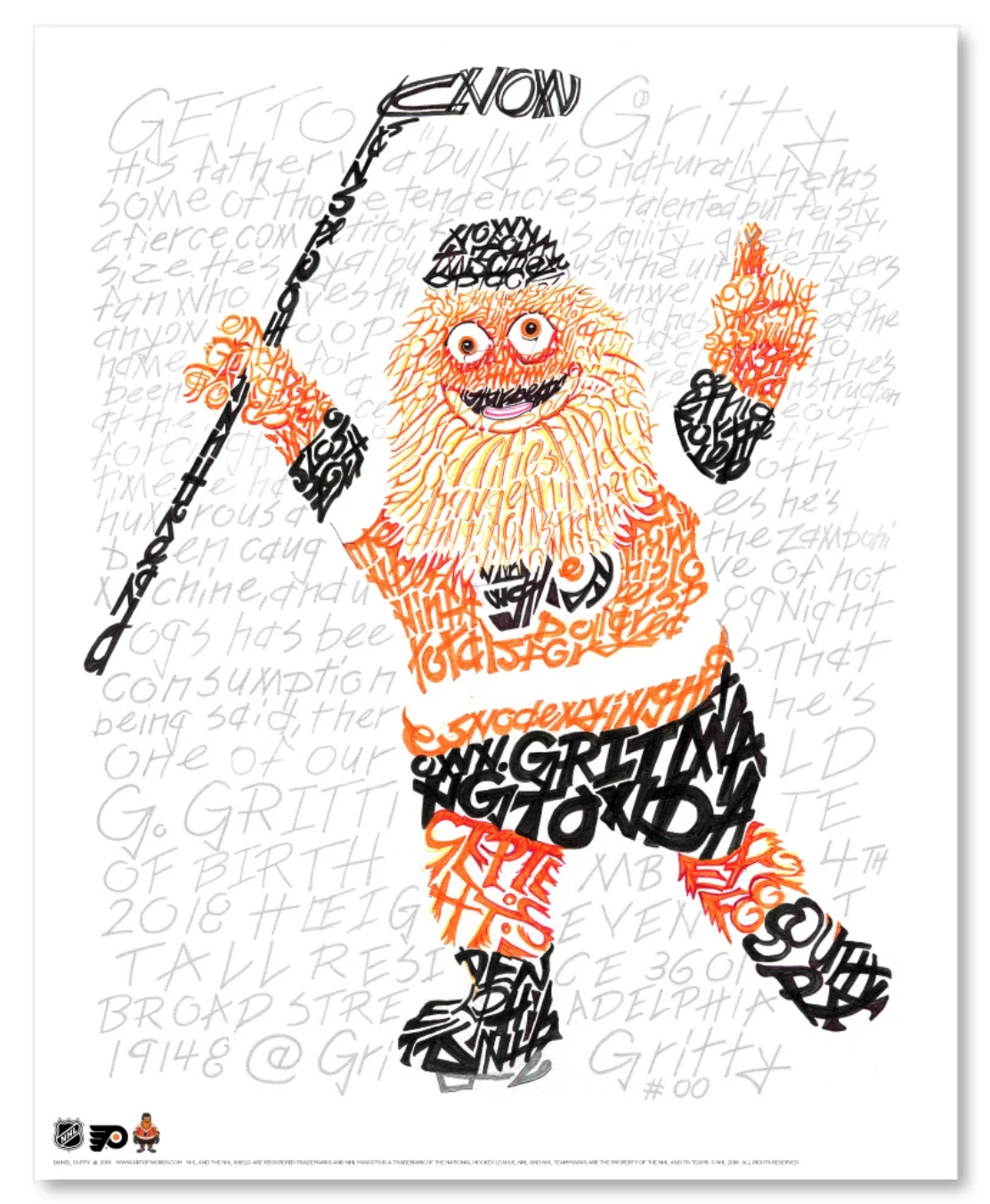 Philadelphia Flyers Gritty Word Art