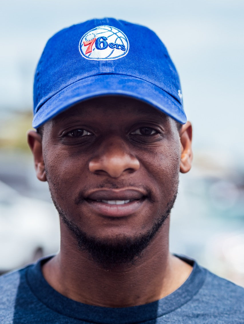 Philadelphia 76ers Blue Clean Up Logo Hat