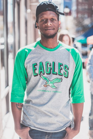 Philadelphia Eagles Break Thru Club Raglan 3/4 sleeve Men's slate grey