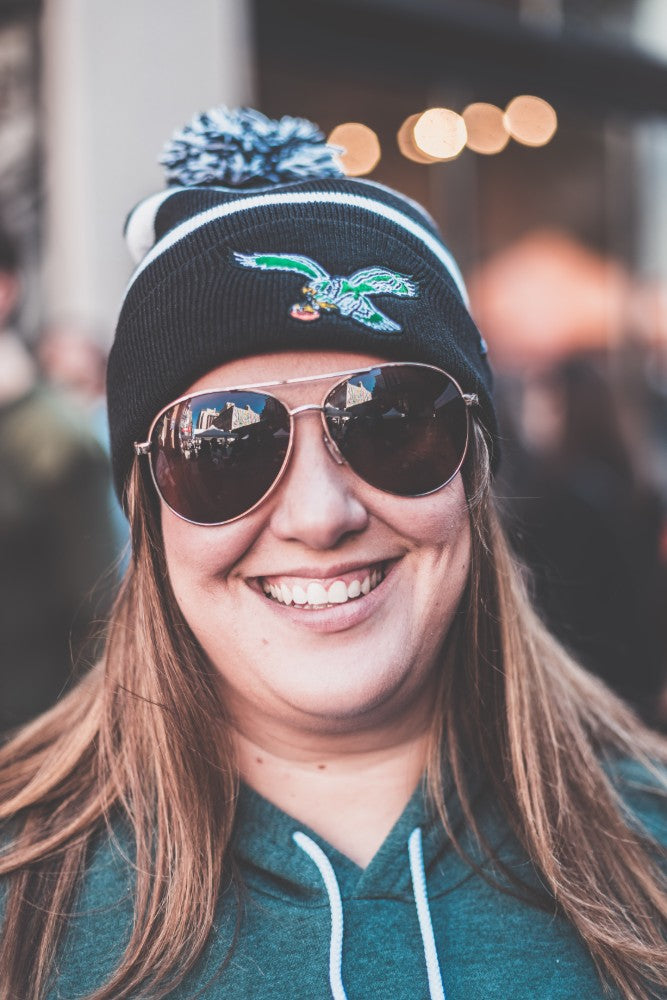 Philadelphia Eagles Vintage Stripe Knit Hat with Pom