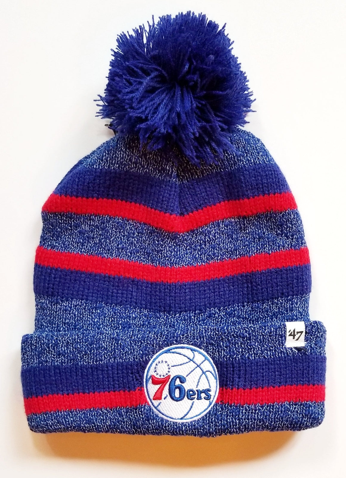 Philadelphia 76ers 47 Brand Post Route Knit Hat with Pom