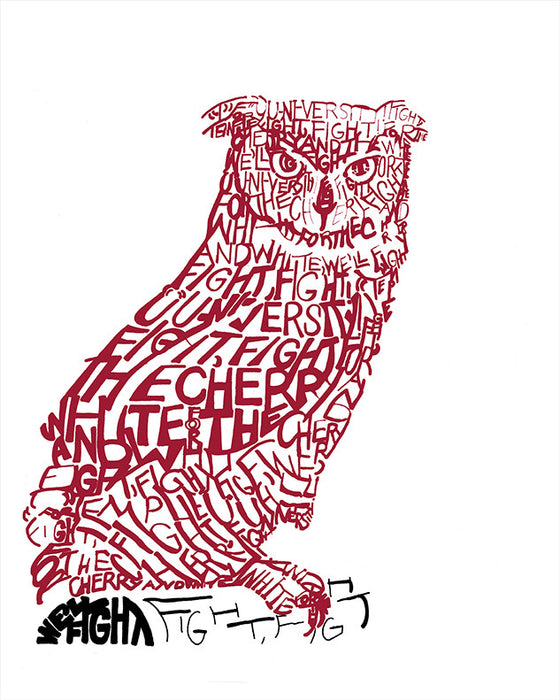 Temple Owl Fight Song Print by Philly Word Art