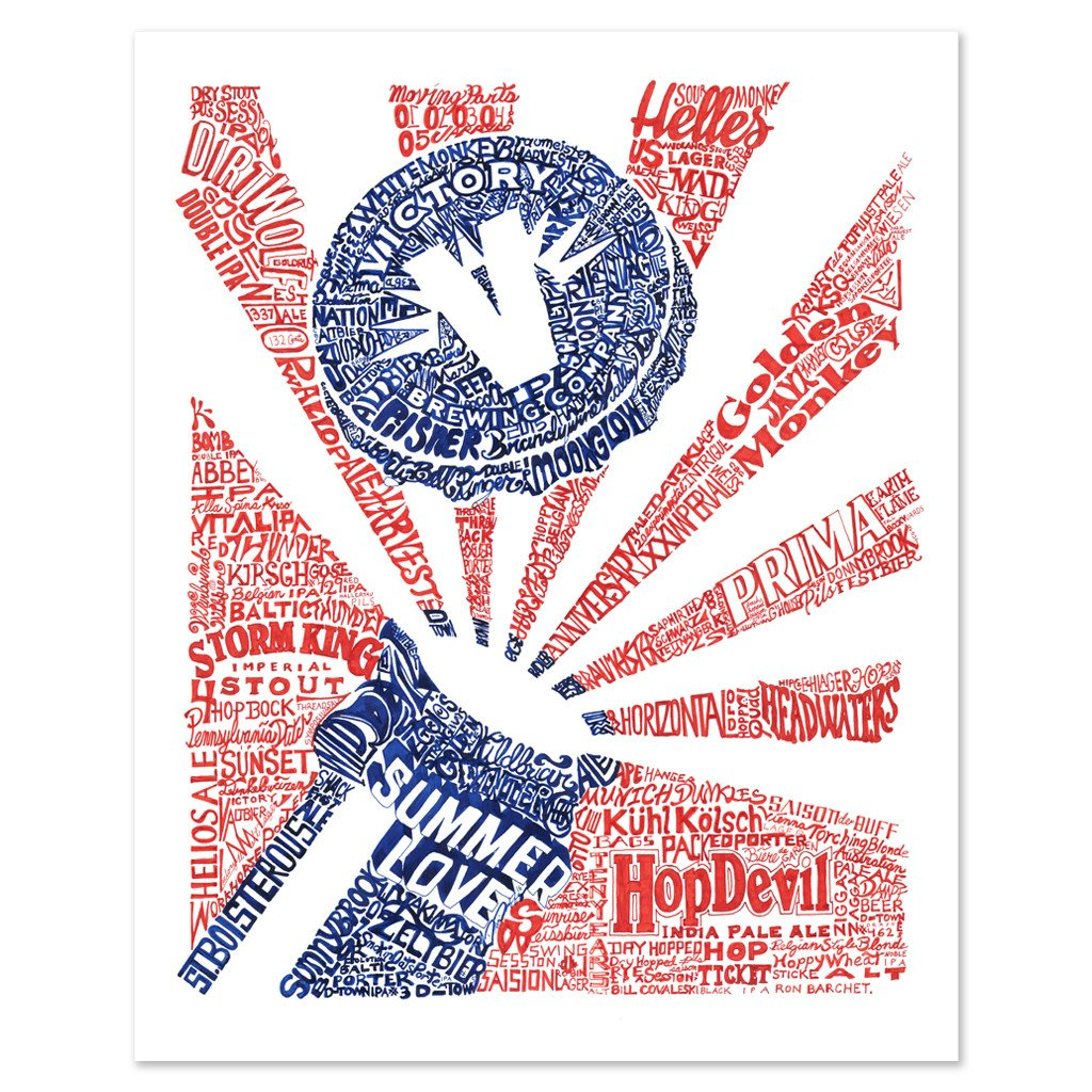 Victory - 20 Years Of Beers Print by Philly Word Art