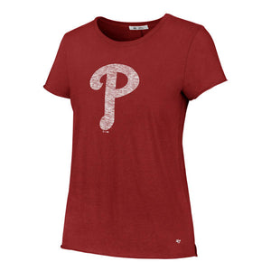 Philadelphia Phillies Women's Rescue Red Fader Letter Crew T-shirt